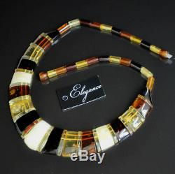 Amber necklace Cleopatra multicolor baltic natural polished solid
