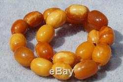 Ancient natural Baltic amber marble yellow, white, red color bracelet