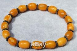 Ancient natural Baltic amber super marble yellow, white, red color bracelet
