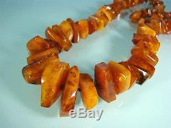 Antik Bernstein Kette Collier Natural Baltic Butterscotch Amber Necklace 107 g