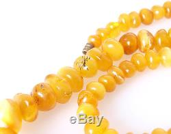 Antique 100% Natural Egg Yolk Butterscotch Baltic amber necklace, 29.15 g