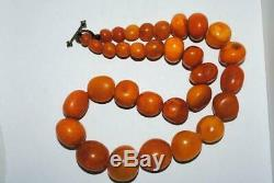 Antique 100% Natural Genuine Baltic Amber Bead Necklace Yellow Egg Yolk 57 gr