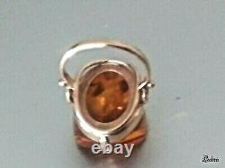 Antique 14k Y Gold Ring With Natural Baltic Amber, Size 6