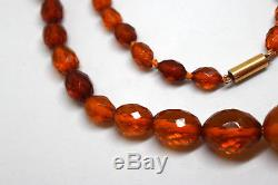 Antique 32 Natural Untreated Baltic Amber Necklace with 10K Solid Gold Clasp