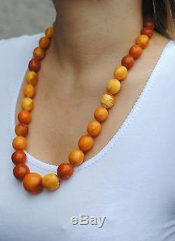 Antique AMBER beads NECKLACE 84g Lithuania Natural BALTIC egg yolk Genuine stone