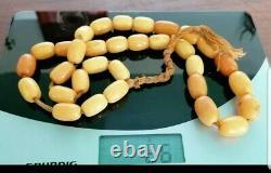 Antique Amber Bead Necklace Prayer bead Mesbih Tesbih Natural Baltic 66g