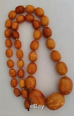Antique Amber Necklace, Baltic Natural Amber, Butterscotch/Egg Yolk. 90gr