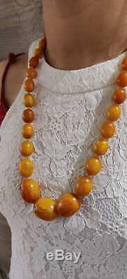 Antique Amber Necklace Beautiful Natural Butterscotch Egg Yolk Baltic 90g