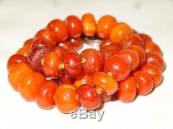 Antique Authentic Natural Butterscotch Baltic Amber Bead Beaded Necklace 24.2g