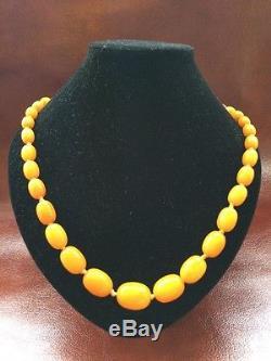 Antique Baltic Amber Egg Yolk Butterscotch Necklace Beads Bernstein
