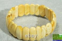 Antique Baltic Amber Natural White Color Small Size Amber Bracelet 7 Grams