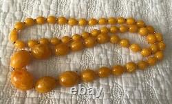 Antique Baltic Amber Necklace Butterscotch Egg Yolk Tested Graduated approx 34