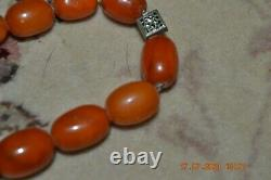 Antique Baltic Butterscotch Egg Yolk Amber Hand Polished Bead Necklace 47.5 Grs