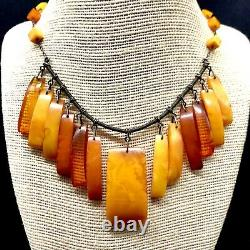 Antique Baltic Egg Yolk Amber Stone Pendants Marked Silver Chain Russian Amber