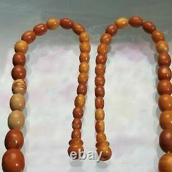 Antique Baltic Egg Yolk Butterscotch Amber Bead Necklace 30 Grams Rare Colors