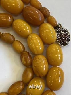 Antique Baltic Egg Yolk Butterscotch Amber Bead Necklace 60 Grams Rare Colors