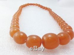 Antique Baltic Egg Yolk Butterscotch Amber Round Beads Necklace 75.8 gr