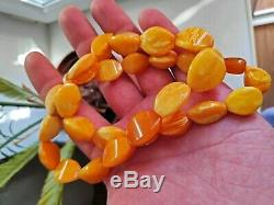 Antique Baltic Egg Yolk Butterscotch Natural Amber Necklace 43 grams NO RESERVE