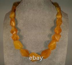 Antique Baltic Natural 54gr Butterscotch Egg Yolk Amber Bead Necklace