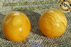 Antique Baltic Natural Amber 2 Amber Egg Form Stones Pendant 17 Grams