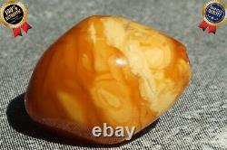 Antique Baltic Natural Amber Single Bead Necklace