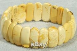 Antique Baltic amber natural white color small size kid amber bracelet 7 g