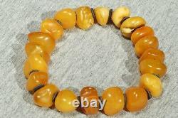 Antique Baltic natural amber bracelet 19 grams. Yellow men, women amber bracelet