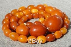 Antique Baltic natural amber necklace 53 grams, NO customs worldwide tax