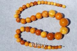 Antique Baltic natural amber necklace 63 grams. Men, women Baltic amber necklace
