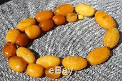Antique Baltic natural necklace 88 grams. Honey color. Men, women amber necklace