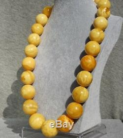 Antique Baltic royal marble white natural amber necklace 255 grams, high class
