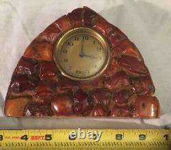 Antique Butterscotch Amber Egg Yolk Deco Clock
