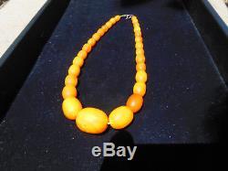 Antique Butterscotch Baltic Egg Yolk Amber Graduated Prayer Bead Necklace 28 Gr