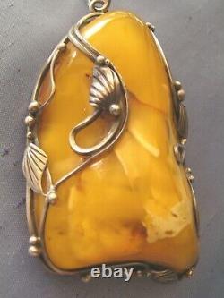 Antique Butterscotch, Egg Yolk, Royal White Natural Baltic Amber Pendant- 48.5 Gr