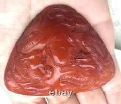 Antique Chinese Carved Egg yolk Butterscotch Natural Baltic Amber Pendant 27.1gr