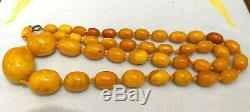 Antique Chinese Tibet Butterscotch egg yolk Amber Baltic Beaded Necklace 86 Gram