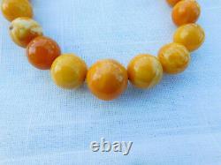Antique Egg Yolk Butterscotch Natural Baltic Amber Bead Necklace 46.7 grams