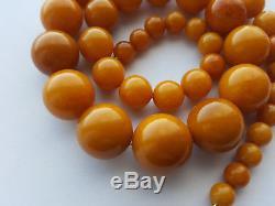 Antique Egg Yolk Butterscotch Natural Baltic Amber Necklace Bernstein