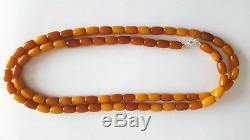 Antique Egg Yolk Butterscotch Natural Baltic Amber Necklace Bernstein