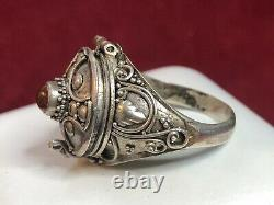 Antique Estate Sterling Silver Baltic Amber Ring Etruscan Poison Pill Opens