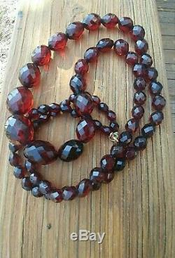 Antique Faceted Cherry Red Natural Baltic Amber Bead Necklace Victorian