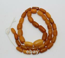 Antique Genuine Natural Butterscotch Egg Yolk Baltic Amber Prayer Bead Necklace
