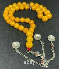 Antique German Baltic Amber Natural Old Austria Press Prayer Beads Rosary 121 g