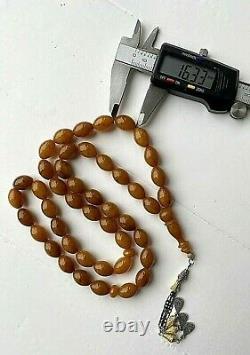 Antique German Pressed Natural Amber 65g. Islamic Prayer Rosary Big Olive Beads