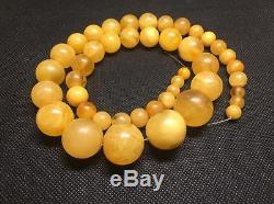 Antique HUGE NATURAL BALTIC AMBER NECKLACE 65.27 gr + certificate