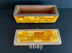 Antique Handmade Butterscotch Egg Yolk Baltic Amber Jewelry Box
