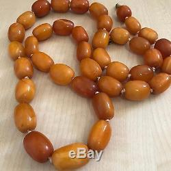 Antique Heavy Natural Baltic Amber Butterscotch Egg Yolk Beads Necklace 104g