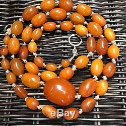 Antique Heavy Natural Baltic Amber Butterscotch Egg Yolk Beads Necklace 47g