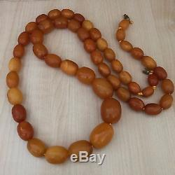Antique Heavy Natural Baltic Amber Butterscotch Egg Yolk Beads Necklace 84g