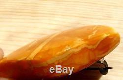 Antique NATURAL BUTTERSCOTCH EGG YOLK BALTIC AMBER BROOCH 6.4 Gram